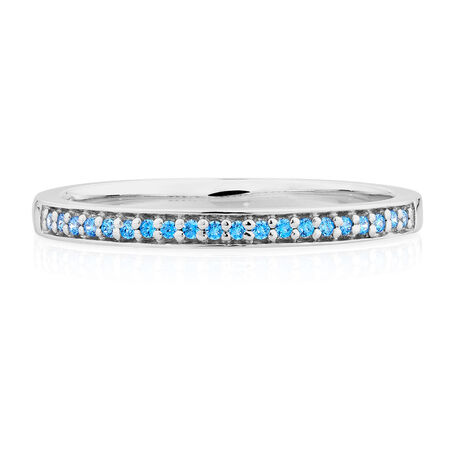 Ring with Blue Cubic Zirconias in Sterling Silver