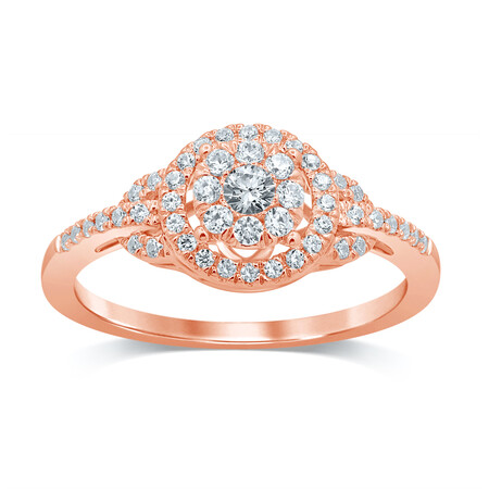Cluster Ring with 0.40 Carat TW of Diamonds in 10kt Rose Gold
