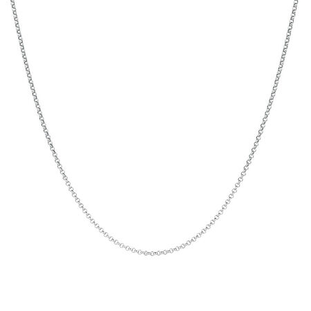 "80cm (32"") Hollow Rolo Chain in 10kt White Gold"