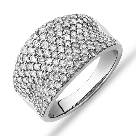 Pave Classic Ring with 1.50 Carat TW Diamond in 14kt White Gold