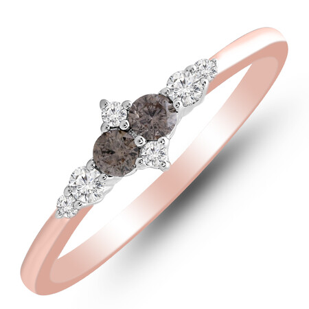 Ring with 0.25 Carat TW of White & Brown Diamonds in 10kt Rose Gold