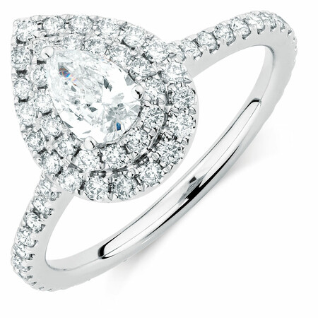 Sir Michael Hill Designer Bridal Double Halo Engagement Ring with 1.20 Carat TW of Diamonds in 14kt White Gold
