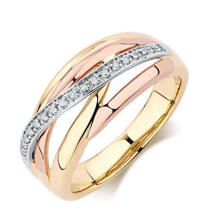 Ring with Diamonds in 10kt Yellow, White & Rose Gold