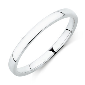 High Domed Wedding Band in 18kt White Gold