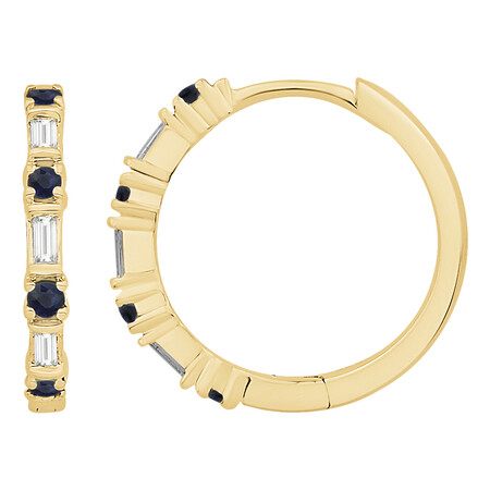 Huggie Earrings with Natural Sapphire & 0.12 Carat TW of Diamonds in 10kt Yellow Gold