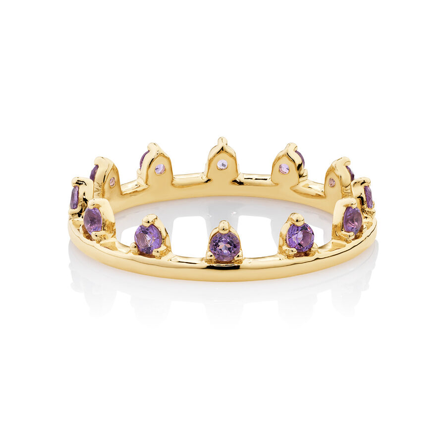 Zipper Ring with Natural Amethyst in 10kt Yellow Gold