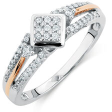 Promise Ring with 0.20 Carat TW of Diamonds in 10kt White & Rose Gold