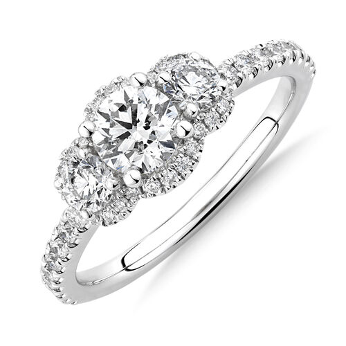 Sir Michael Hill Designer Three Stone Halo Engagement Ring with 1.07 Carat TW of Diamonds in 18kt White Gold