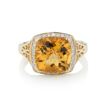 Online Exclusive - Ring with 0.14 Carat TW of Diamonds & Citrine in 10kt Yellow Gold