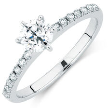 Evermore Colourless Engagement Ring with 0.62 Carat TW of Diamonds in 14kt White Gold