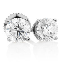 Classic Stud Earrings with 1.46 Carat TW of Diamonds in 14kt White Gold
