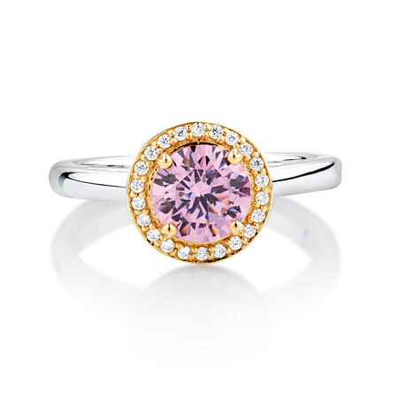 Pink & White Cubic Zirconia, Sterling Silver & 10kt Yellow Gold Stacker Ring