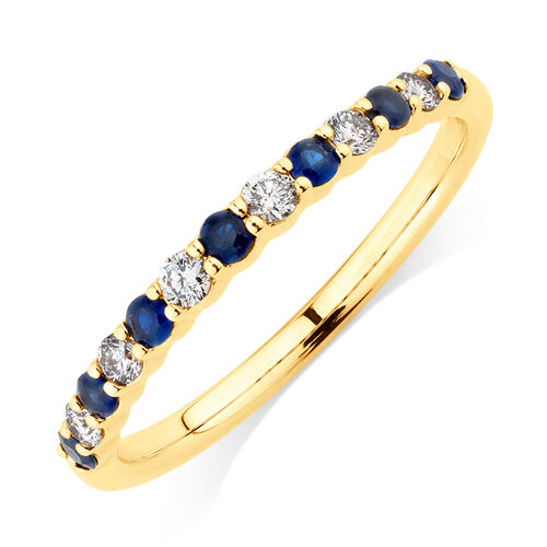 Ring with Blue Sapphire & 1/7 Carat TW of Diamonds in 10kt Yellow Gold