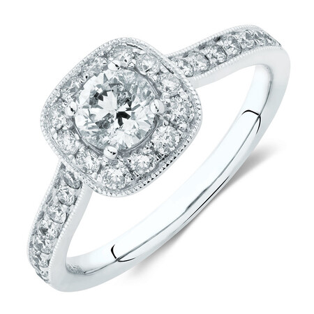 Engagement Ring With 1 Carat TW Of Diamonds In 14kt White Gold