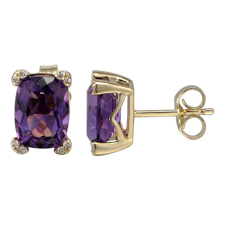 Earring with Diamond & Natural Amethyst in 10kt Yellow Gold