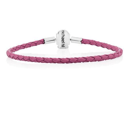 "Pink Leather 21cm (8.5"") Charm Bracelet"