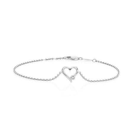 Heart Bracelet With Diamond In Sterling Silver