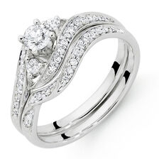 Bridal Set with 1/2 Carat TW of Diamonds in 18kt White Gold