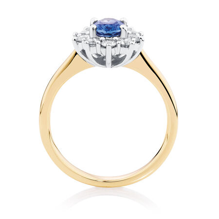 Ring with Ceylonese Sapphire & 1/2 Carat TW of Diamonds in 14kt Yellow & White Gold