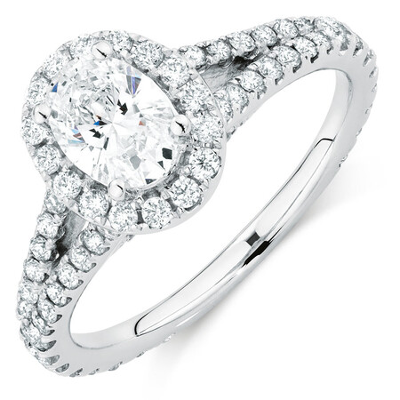 Sir Michael Hill Designer GrandAllegro Engagement Ring with 1.47 Carat TW of Diamonds in 14kt White Gold