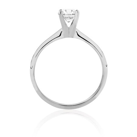 Solitaire Engagement Ring with a 0.70 Carat Diamond in 14kt White Gold