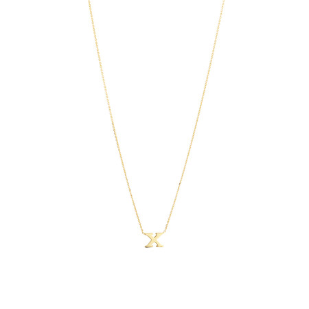 """X"" Initial Necklace in 10kt Yellow Gold"