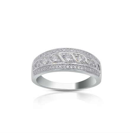 Twist Three Row Ring with 0.50 Carat TW of Diamonds in 10kt White Gold