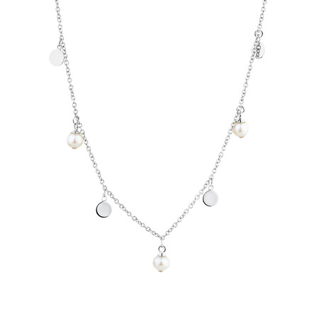 Necklace with Cultured Freshwater Pearls in Sterling Silver