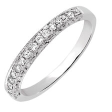 Wedding Band with 0.18 Carat TW of Diamonds in 14kt White Gold
