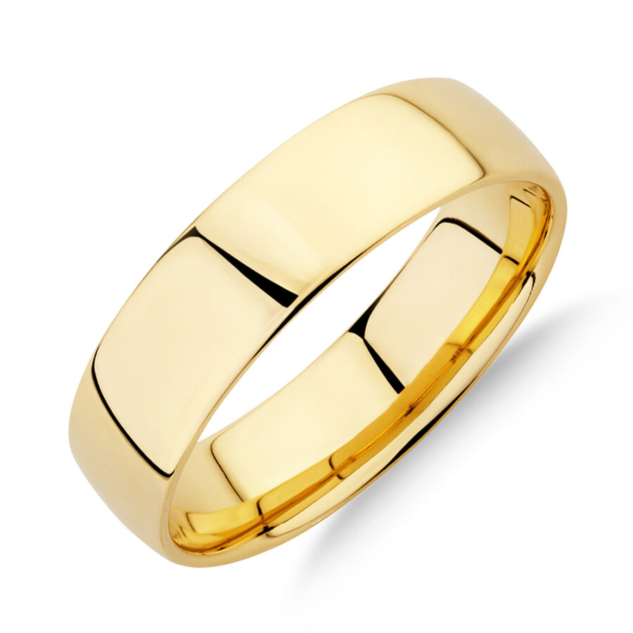 Half Round Wedding Band in 10kt Yellow Gold