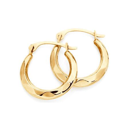 14mm Patterned Hoop Earrings In 10kt Yellow Gold