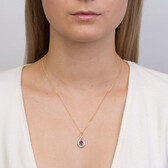 Pendant with Amethyst & Diamond in 10kt Yellow & White Gold