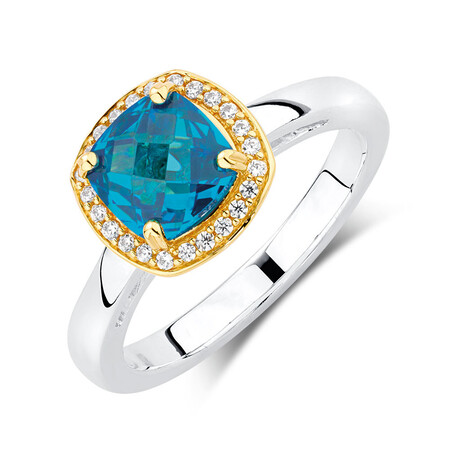 Aqua & White Cubic Zirconia, Sterling Silver & 10kt Yellow Gold Stacker Ring