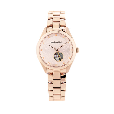 Ladies Rose Tone Stainless Steel Automatic Watch