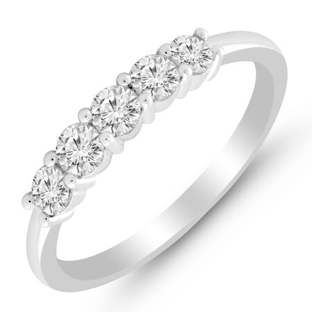 Five Stone Ring with 1/2 Carat TW of Diamonds in 14kt White Gold