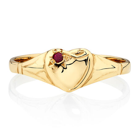 Signet Ring with a Red Cubic Zirconia in 10kt Yellow Gold