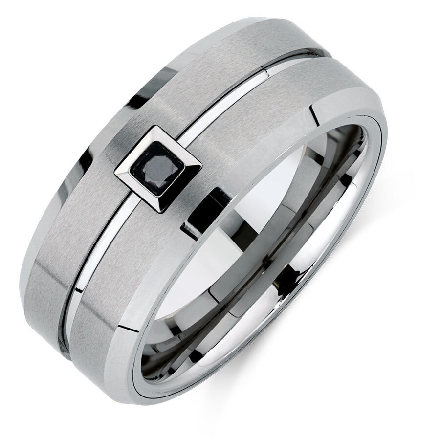 Men's Ring with an Enhanced Black Diamond in Grey Sapphire Tungsten
