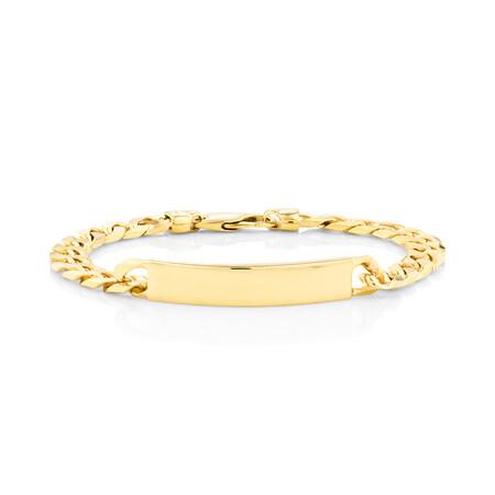 "23cm (9.5"") Flat Curb ID Bracelet In 10kt Yellow Gold"