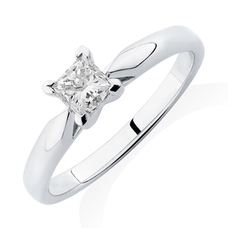 Evermore Engagement Ring with 0.50 Carat TW Diamond Solitaire in 14kt White Gold