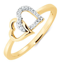 Heart Ring with Diamonds in 10kt Yellow Gold