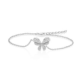 Bow Bracelet with White Cubic Zirconia in Sterling Silver