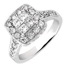Engagement Ring with 1.20 Carat TW of Diamonds in 14kt White Gold