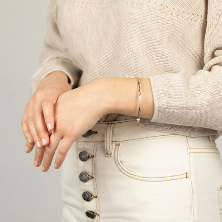 Hollow Twist Bangle in Sterling Silver
