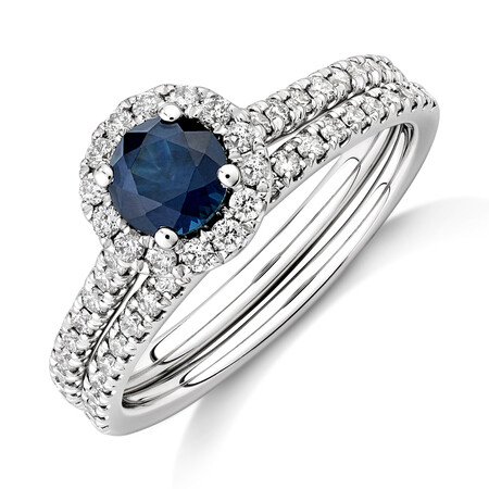 Halo Bridal Set with Sapphire & 0.54 Carat TW of Diamonds in 14kt White Gold