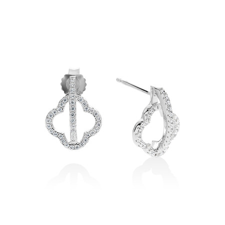 Four Leaf Clover Earrings with White Cubic Zirconia in Sterling Silver