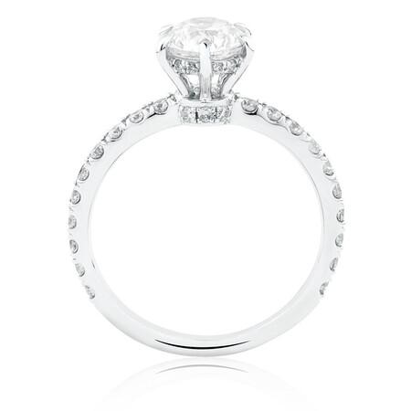 Sir Michael Hill Designer GrandAria Engagement Ring With 1.42 Carat TW Of Diamonds In 14ct White & Rose Gold