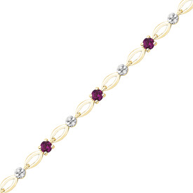 Bracelet with Diamonds & Created Ruby in 10kt Yellow Gold