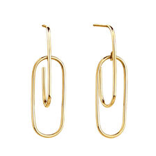 Double Oval Hoop Earrings In 10kt Yellow Gold
