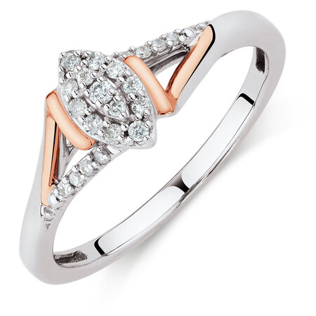 Promise Ring with 0.12 Carat TW of Diamonds in Sterling Silver & 10kt Rose Gold