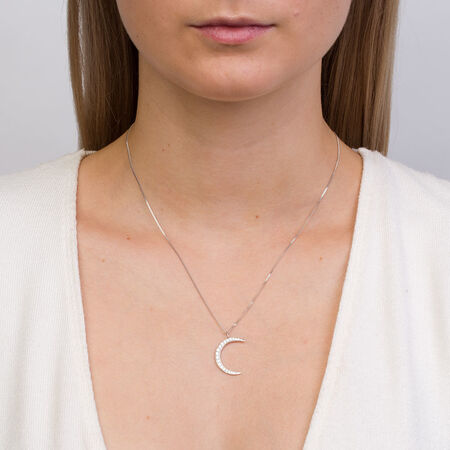Moon Pendant with Cubic Zirconia in Sterling Silver